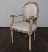 Classic French country chair in teak and linen