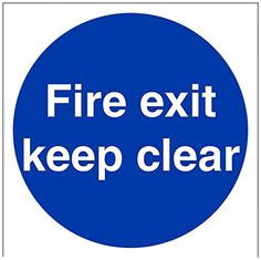 Cheap VSafety 18003AT-S Fire Exit Keep Clear Mandatory Sign Self Adhesive Vinyl Square 200 mm x 200 mm Blue deals week