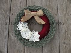 Red Green Crochet Wreath, handmade by Sisters for Sunshine Creations!