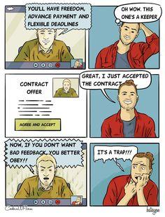 This is brutal. The dream of the perfect client falls apart in seconds. Web design is a tough game. Game Ui, Wordpress Plugins, Web Development, Web Design, Comics, Design Web, Cartoons, Comic, Website Designs