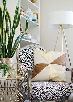 DIY Leather & Gold Pinwheel Pillow