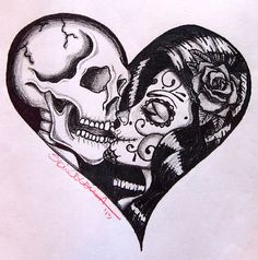Heart Kiss by Skinderella Sugar Skull Skeleton Lovers Canvas Art Print