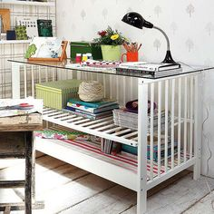 "REPURPOSED FURNITURE USING YOUR CRIB, CHANGING TABLE ETC. Finally, something to do with those cribs that are ""Dangerous""  LOL"