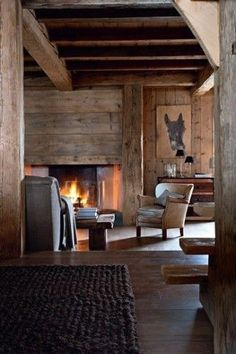 Chalet from Megeve, Alps / France Cabin Interiors, Rustic Interiors, Chalet Interior, Interior Design, Modern Interior, Rustic Style, Rustic Decor, Rustic Modern, Rustic Chic