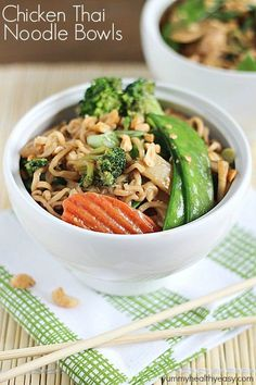 A new spin on ramen noodles - Chicken Thai Noodle Bowls! Ramen noodles and veggies tossed in a quick peanut sauce then topped with chopped peanuts and green onions.