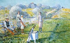 """Mixed Foursome,"" Childe Hassam, 1923, oil on canvas, 27¼ x 44¼"", private collection."