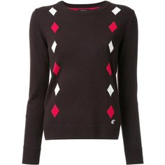 Loveless intarsia diamond jumper ($265) ❤ liked on Polyvore featuring tops, sweaters, brown, jumpers sweaters, red and white sweater, diamond sweater, diamond tops and intarsia sweater