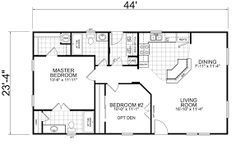 Little House on the Trailer Home: 24 x 2 Bed, 2 Bath, 1026 sq. (practically our apartment in Virginia but as a house) The Plan, How To Plan, Single Wide Mobile Homes, Small House Floor Plans, Barndominium Floor Plans, Pole Barn Homes, Apartment Plans, Bedroom House Plans, Tiny House Living