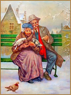 :: ANZIANI - Daniela C. Couple Painting, Couple Art, Couple Drawings, Art Drawings, Old People Love, Growing Old Together, Anime Muslim, Old Couples, Illustration Art