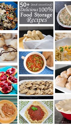 A huge collection of Food Storage Recipes.  More are added each week.  And they are actually yummy! http://www.yourownhomestore.com/100-thrive-recipes/