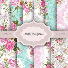 Vintage Shabby chic flowers Digital Paper Pack - Vintage damask floral lace pattern background for scrapbooking, wedding invitations, cards