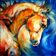 the mustang oil painting by marcia baldwin