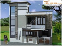 Bungalow House Design, House Front Design, Modern House Design, Modern Houses, House Layout Plans, House Layouts, House Plans, Building Elevation, House Elevation