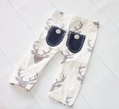 The Hunt is Over - newborn pants in cream and grey deer buck knit with navy blue pockets pockets and buttons (RTS) by SoTweetDesigns on Etsy