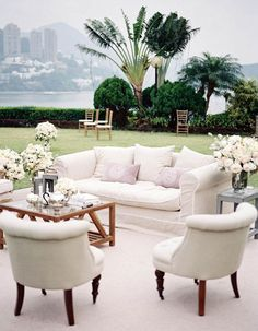 Bring your love for furniture to your outdoor reception with this elegant relaxation station!