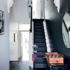 The Best Paint Colors: 10 Farrow & Ball Not-Boring Neutrals - stairs Black And White Hallway, Black Stairs, Black White, Dark Grey Hallway, Black Painted Stairs, Off Black, House Staircase, Staircase Design, Dark Staircase