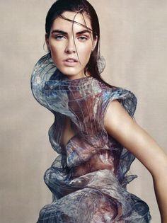 Iridescent Beauty - fluid contours & surface stitch detail; otherworldly 3D sculptural fashion // Alexander McQueen