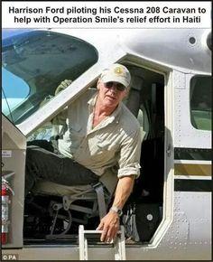 Harrison Ford flies