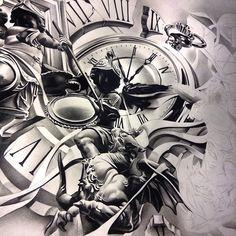 Round 2 on this piece. #theprocess #theinkedlife #the_inkmasters #workdofartists #worldofpencils #sketch_daily #spotlightonartists #pocketwatch #timepiece #angels #battling #blackandgray #bnginksociety #art #artist #artistmafia #tattooartistmagazine #wip #graphite