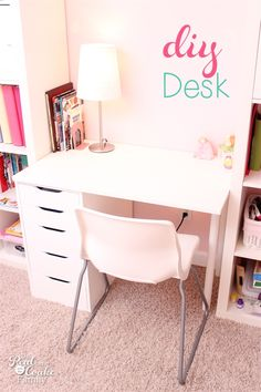 I've got a DIY desk for you today. It is part of the moving of my girls into their own rooms and part of the IKEA Expedit shelving unit and desk I made for my oldest daughter's room.When me moved our girls rooms around, I planned this IKEA Expedit shelvin Expedit Hack, Ikea Regal Expedit, Ikea Kallax Desk, Ikea Kids Desk, Ikea Small Desk, Small Kids Desk, Ikea Desk Table, Desk For Small Room, Kids Desk Space