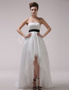 269dc9f4a9 Ivory A-line Strapless Bow Sweep Shot-silk Beach Bridal Gown Milanoo Bridal  Wedding