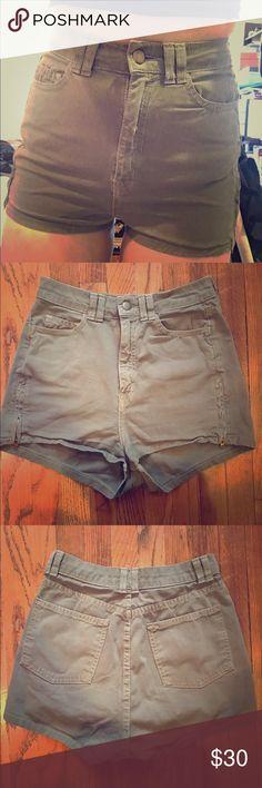 American Apparel green denim high waisted shorts American Apparel green denim high waisted shorts American Apparel Shorts