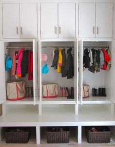 Appleshine: Mud Rooms. But could be in the laundry room or kids room for their closet!