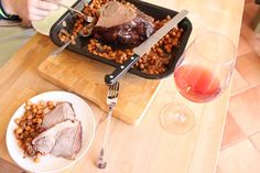 Roast Lamb with Aperol Chick Peas. One Pan Meal!