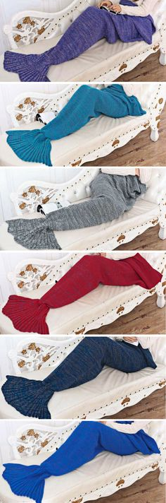 Type:Mermaid Tail Blanket Age Group: Adults, Teens, Kids Material: Wool, Acrylic Colors: Red, Dark Blue, Navy Blue, Light Blue, Gold, Gray, Purple Sizes:One
