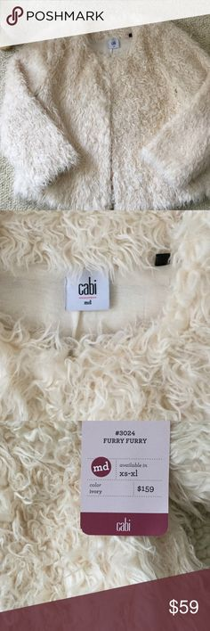 "Cabi faux fur "" Furry"" jacket. NWT ? Adorable. Ivory,  soft & glam/ fun. Wear with jeans or over a cocktail dress. Dry Clean only. Lining rayon ( feels like your favorite T-shirt.) Fall 2015.  PRICE DROPPED UNTIL 12PM EST ONLY 6HRS CAbi Jackets & Coats"