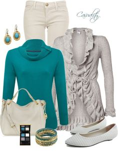 """""""Teal Jumper & Vero Moda Ruffled Cardigan"""" by casuality on Polyvore"""