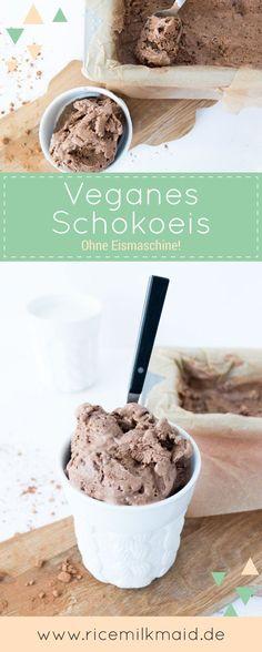 Rezept für cremiges, veganes Schokoeis auf Basis von Kokosmilch und Datteln. Gelingt ohne Eismaschine und mit nur vier einfachen Zutaten!