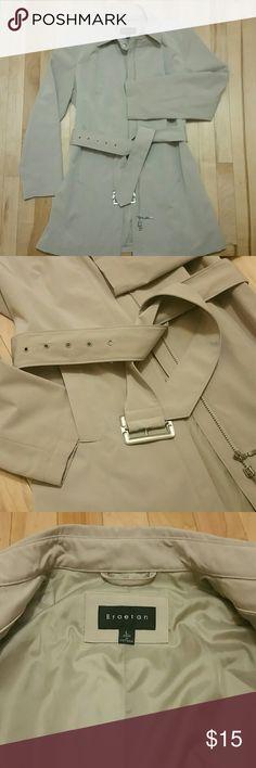 Tan Braetan Rain Jacket Never worn! Thigh length, 100% polyester, machine washable, pockets, and belt. Braetan  Jackets & Coats