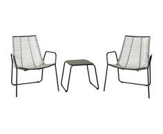 Outdoor-Stühle Valdez mit Beistelltisch, 3-tlg.