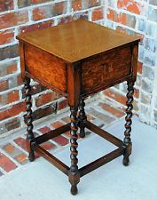 Antique English Oak Barley Twist Hinged Top Sewing Box End Table Nighstand