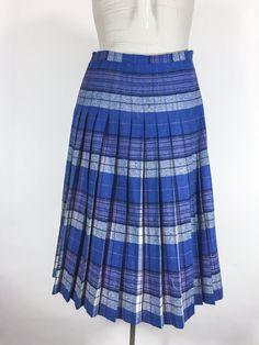 Vintage Skirt Plaid Skirt Reversible Plaid Skirt Blue Plaid Pleated Skirt Bright Blue Plaid Skirt Lavender Skirt Blue Plaid Pleated Skirt