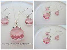 Three Pink Swarovski Crystal Bridal Party Jewelry Sets by EllenBKeepsakes, $108.00