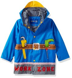 Wippette Toddler Boys' Work Zone Raincoat, Royal, 3T. Attached hood with visor. On seam pockets. Body and hood lining.