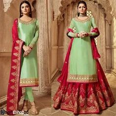 Drashti dhami light green lehenga style suit online which is crafted from satin georgette fabric with exclusive embroidery, zari and stone work. This stunning designer lehenga style suit comes with rangoli lehenga and rangoli dupatta. Kurta Lehenga, Bollywood Lehenga, Salwar Kameez, Bollywood Style, Sarees, Bollywood Dress, Churidar Suits, Sharara, Patiala