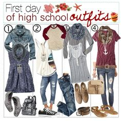 """First day of Highschool"" my booty! I'm a grown woman and I would wear these outfits! School Outfits Highschool, First Day Of School Outfit, Back To School Outfits For Teens, High School Fashion, Teen Fashion, Fashion Outfits, School Looks, Gymnasium Outfits, Winter Outfits"