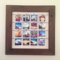 Homemade Instagram frame made out of oxidized recycled barn wood with thin metal rods & mini clothes pins. Made by @Dan Uyemura Eggenschwiler #diy #instagram #gifts