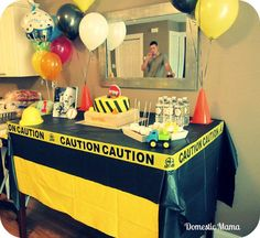 like the caution tape and balloons attached to cones