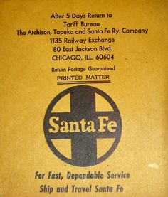 "Vintage! Santa Fe Railroad Paper Advertisement 4 5/8"" x 5 1/4""."