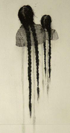 """Aline Eras (Dutch, Arnhem, Netherlands) - Melancholy 3, Edition 3, 2012 Line Etching, Drypoint, Pencil on Paper """