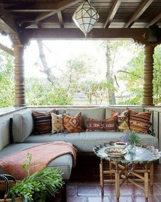 """5,905 Likes, 27 Comments - Bohemian Decor (@bohemiandecor) on Instagram: """"Bohemian inspired patio with a cozy bench and a Moroccan inspired pendant light • Design by…"""""""