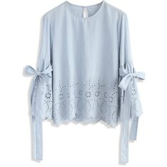Chicwish I Feel Delight Embroidered Top with Bell Sleeves (2.045 RUB) ❤ liked on Polyvore featuring tops, blouses, blue, fancy blouse, embroidery top, scalloped blouse, flared sleeve blouse and dressy blouses