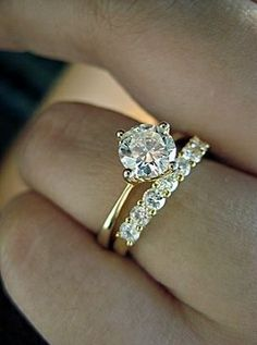 North, South, East, West diamond engagement ring and wedding band. Such a different look but so subtle.