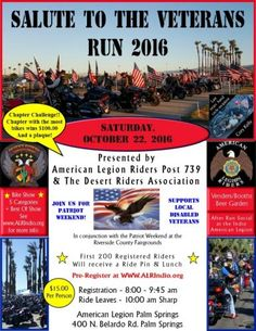 Palm Springs, CA - Oct. 22, 2016: Salute to the Veterans motorcycle Run. Supports local disabled Veterans.