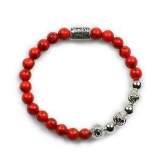 Red Coral & Silver plating charm