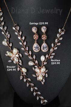 Rose Gold Bridal earrings Wedding jewelry by thefabbridaljewelry